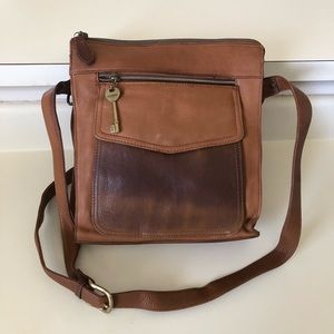 Fossil 1954 brown leather crossbody messenger bag